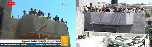 Two pictures showing Palestinian human shields gathered on buildings for which the Israel Air Force has given advance warning of a pending bombing.