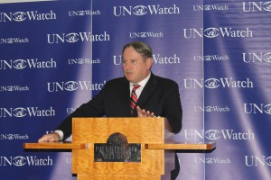 Richard Kemp speaking at UN Watch conferen