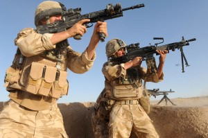 British soldiers engage the Taliban