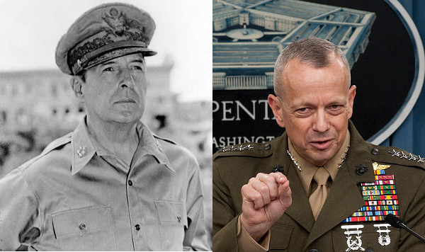 General Douglas MacArthur (left) strongly believed in forward defence. General John Allen (right) also believes in forward defence -- but for U.S. forces only, not for the Israel's military defending its borders. (Source: Wikimedia Commons, 1, 2)